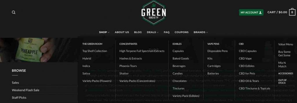 lots of cannabis products at this dispensary