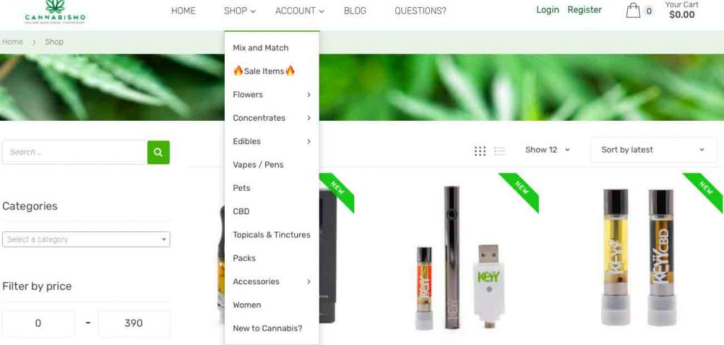 Cannabis products for sale at Cannabismo.ca