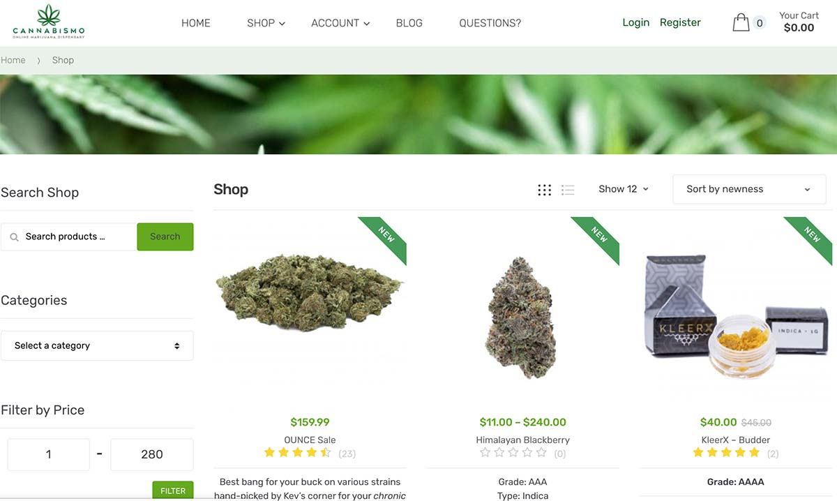 Review of Cannabismo mail order marijuana dispensary.
