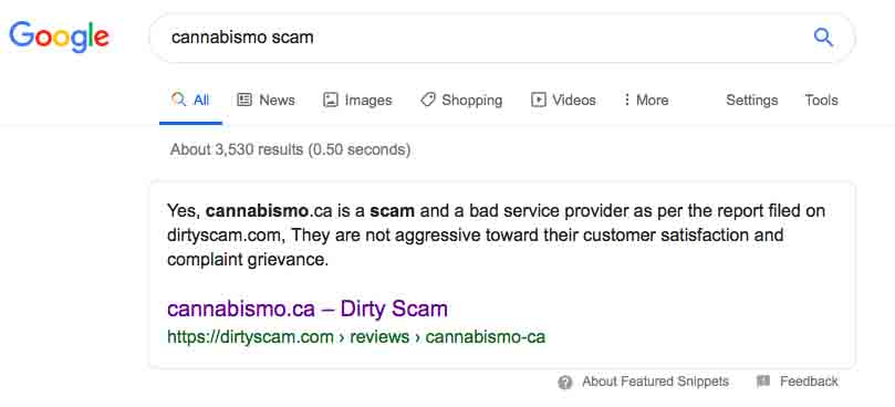 DirtyScam.com claims Cannabismo.ca is a scam.