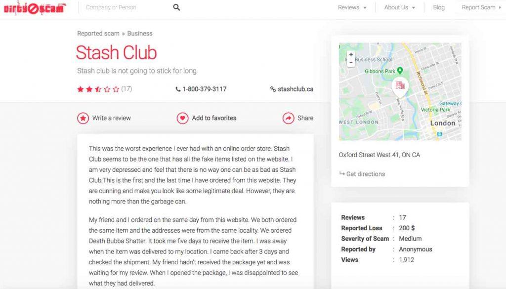 Is Stash Club a scam? Bad feedback on DirtyScam.com