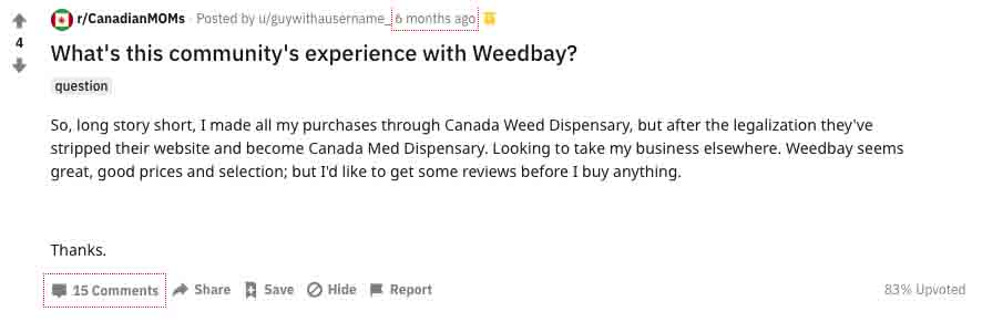 Users on Reddit review Weedbay - all positive replies