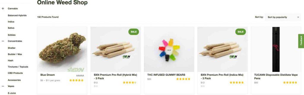 BudExpressNOW product categories