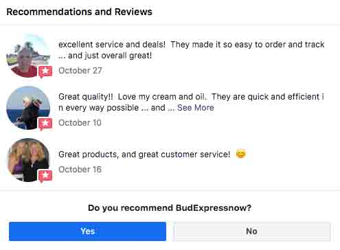 Positive BudExpressNow reviews on their Facebook page.