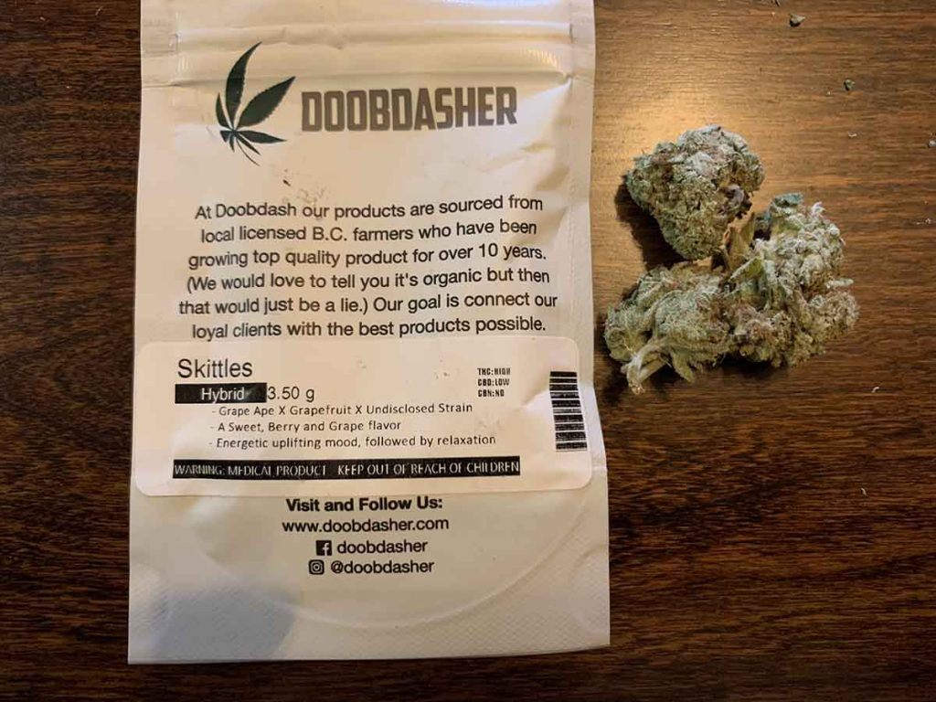 We Zkittles marijuana from Doobdasher and it came two days later.