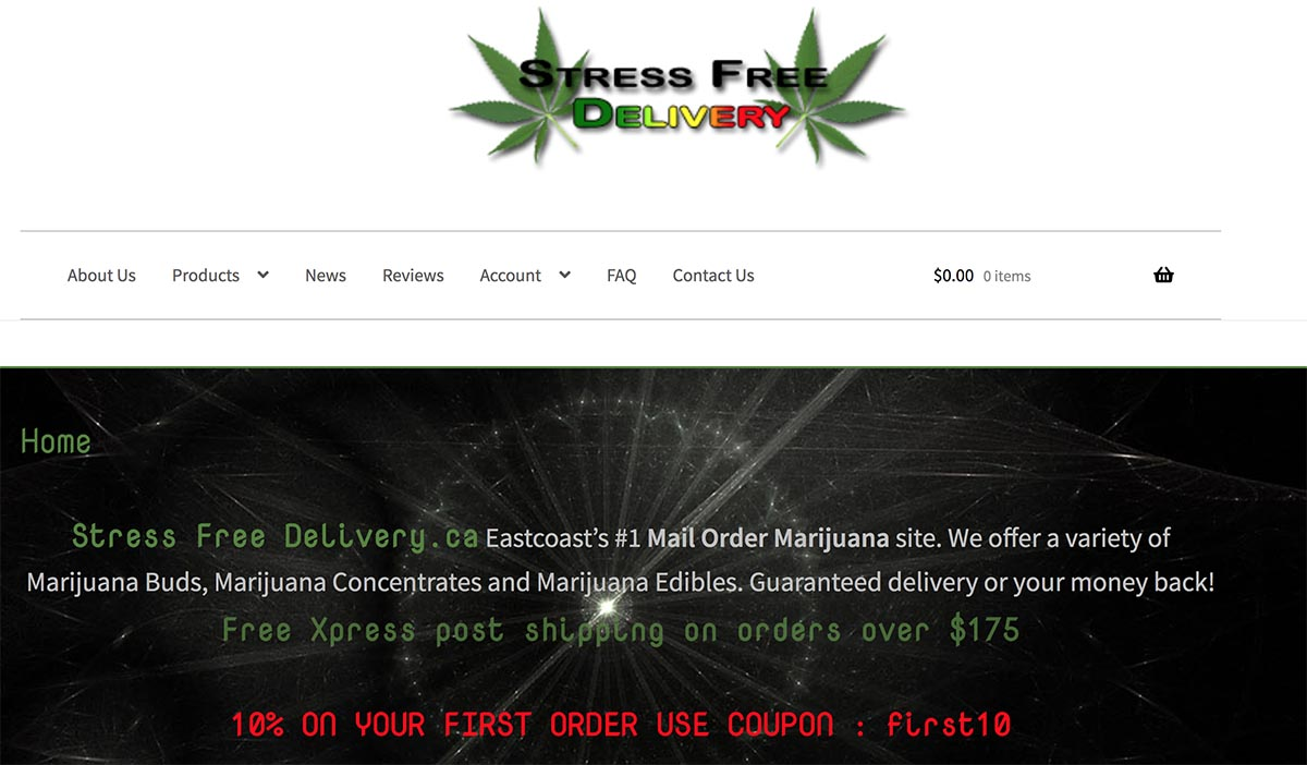 Review of Stress Free Delivery online dispensary from Montreal, Quebec.