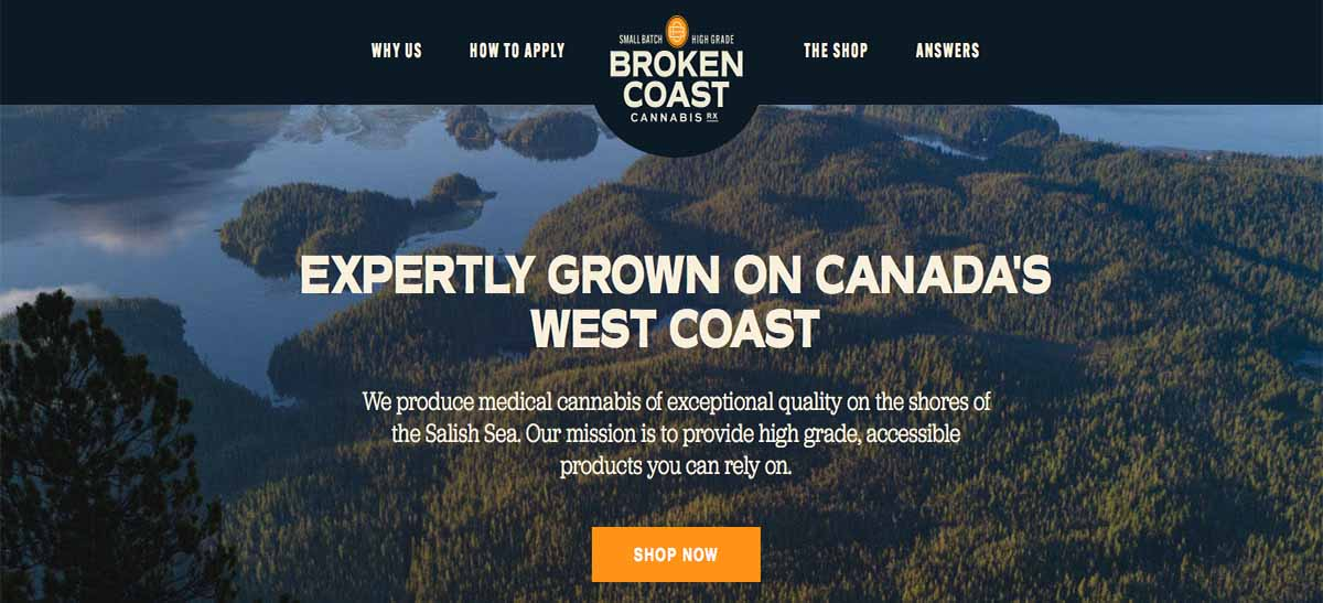 Broken Coast Cannabis for Medical Marijuana users under ACMPR review.