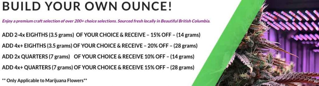 Ganja Express build your own ounce promotion.