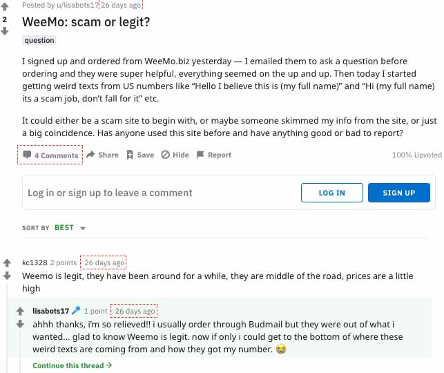 User generate review about Weemo dispensary.