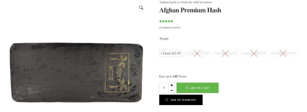 Afghan premium hash by the gram