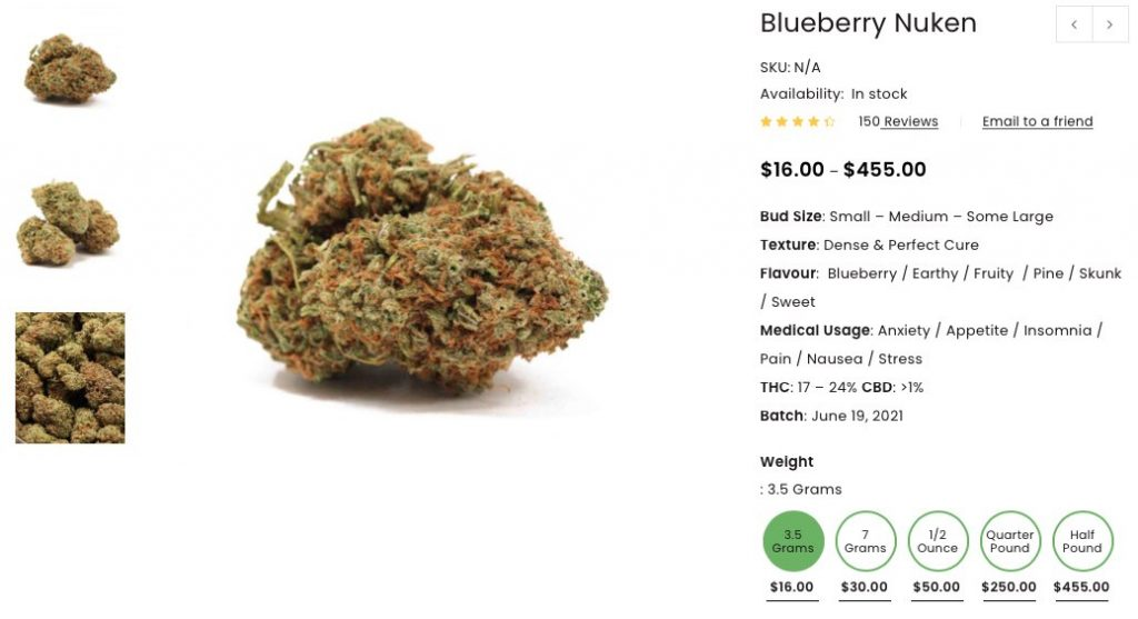 Blueberry Nuken strain