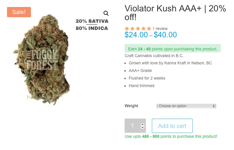 Violator Kush AAA+ at The Foggy Forest