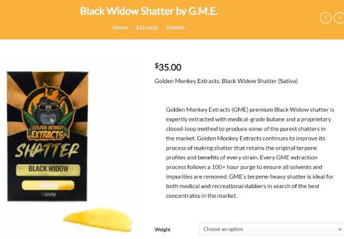 Black Widow Shatter at GTA Dispensary